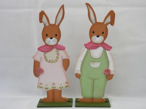Spring Flower Rabbits - Very Large - Set of 2